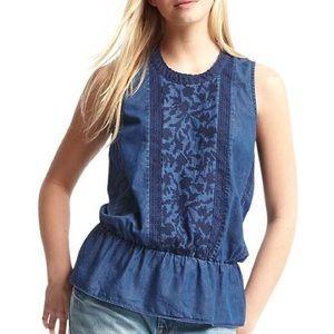 Gap Peplum Blue Chambray Embroidery Sleeveless Top